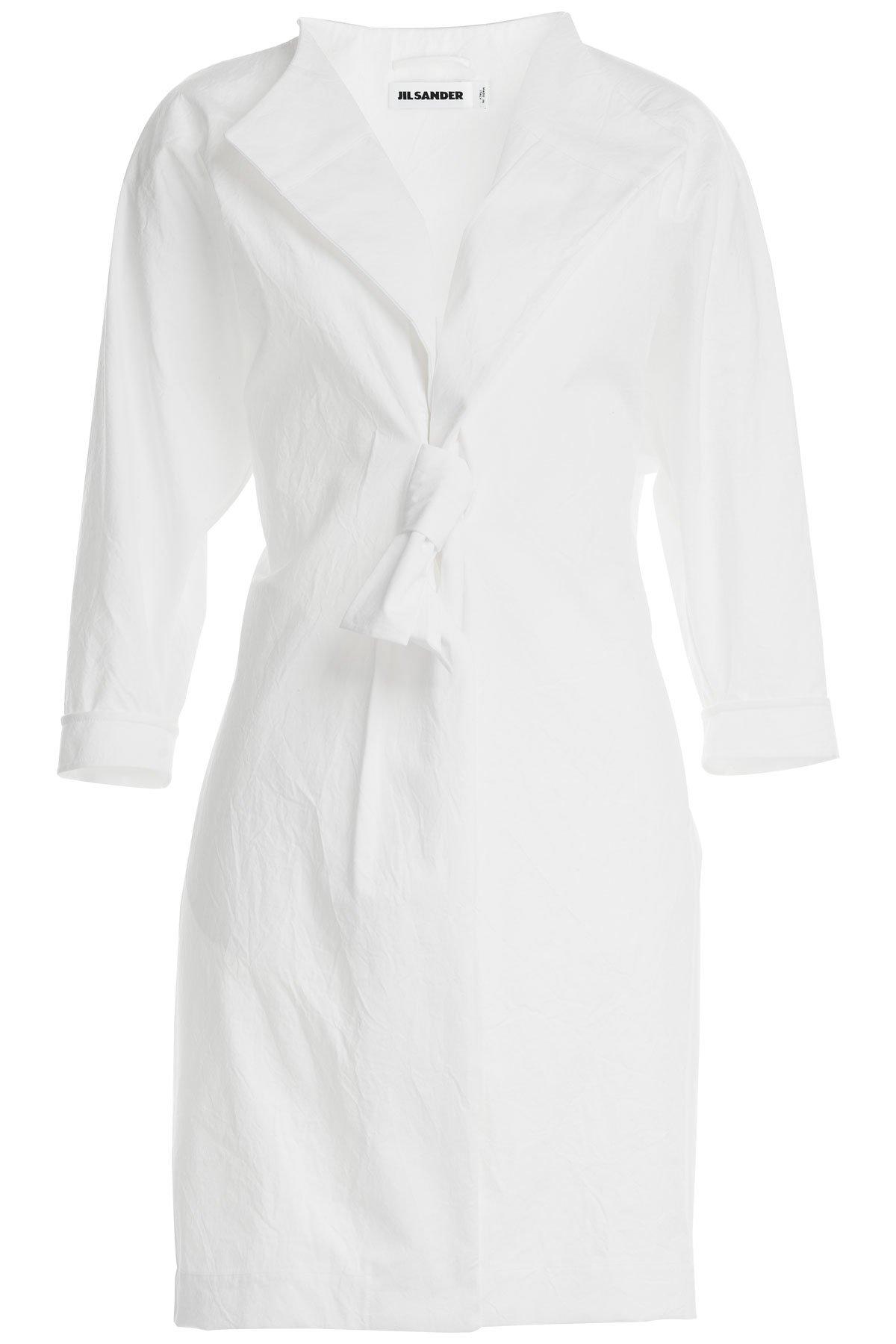 Jil sander Wrinkled Cotton Coat - White in White | Lyst