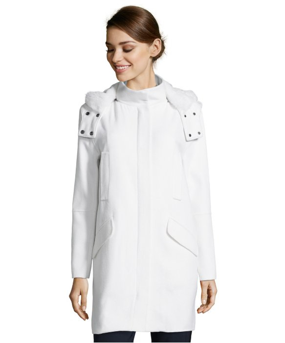 Vince Winter White Wool Fur Lined Hooded Coat in White | Lyst