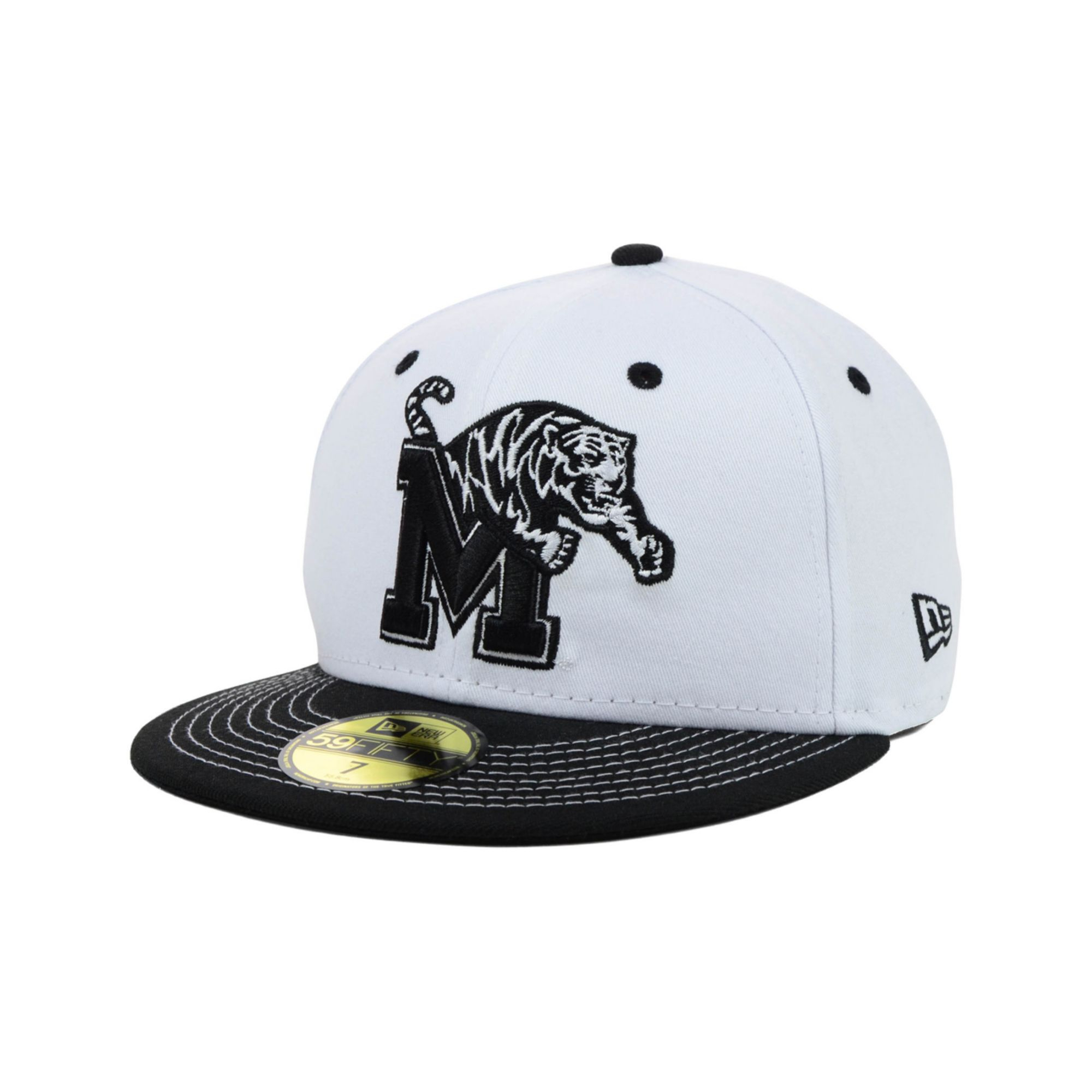 b7c2820d43e italy lyst ktz memphis tigers ncaa white black 59fifty cap in black for men  f40a0 67ec4