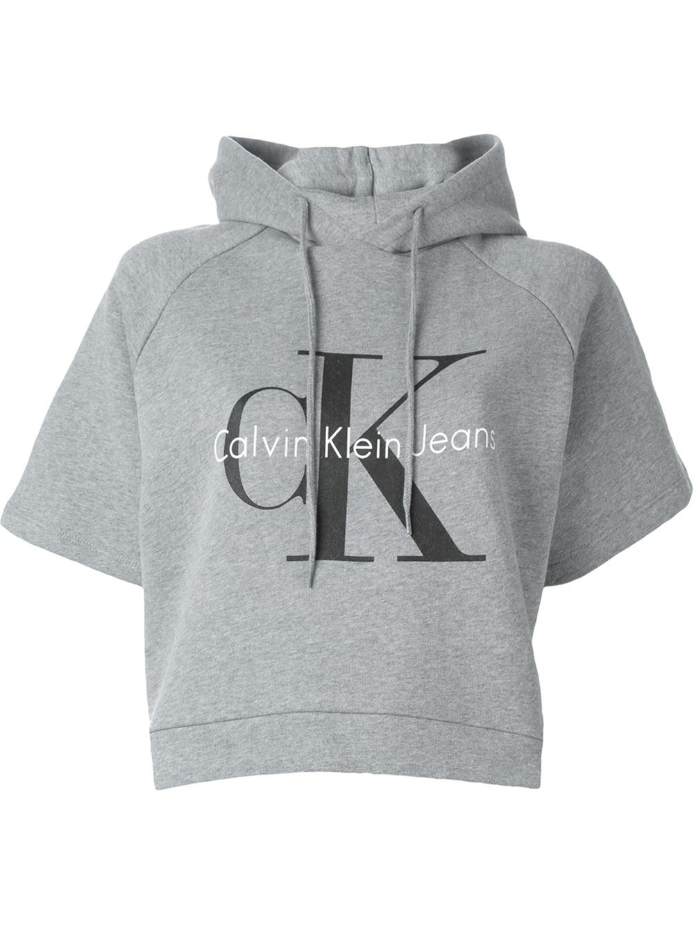 calvin klein jeans logo print cropped hoodie in gray grey. Black Bedroom Furniture Sets. Home Design Ideas
