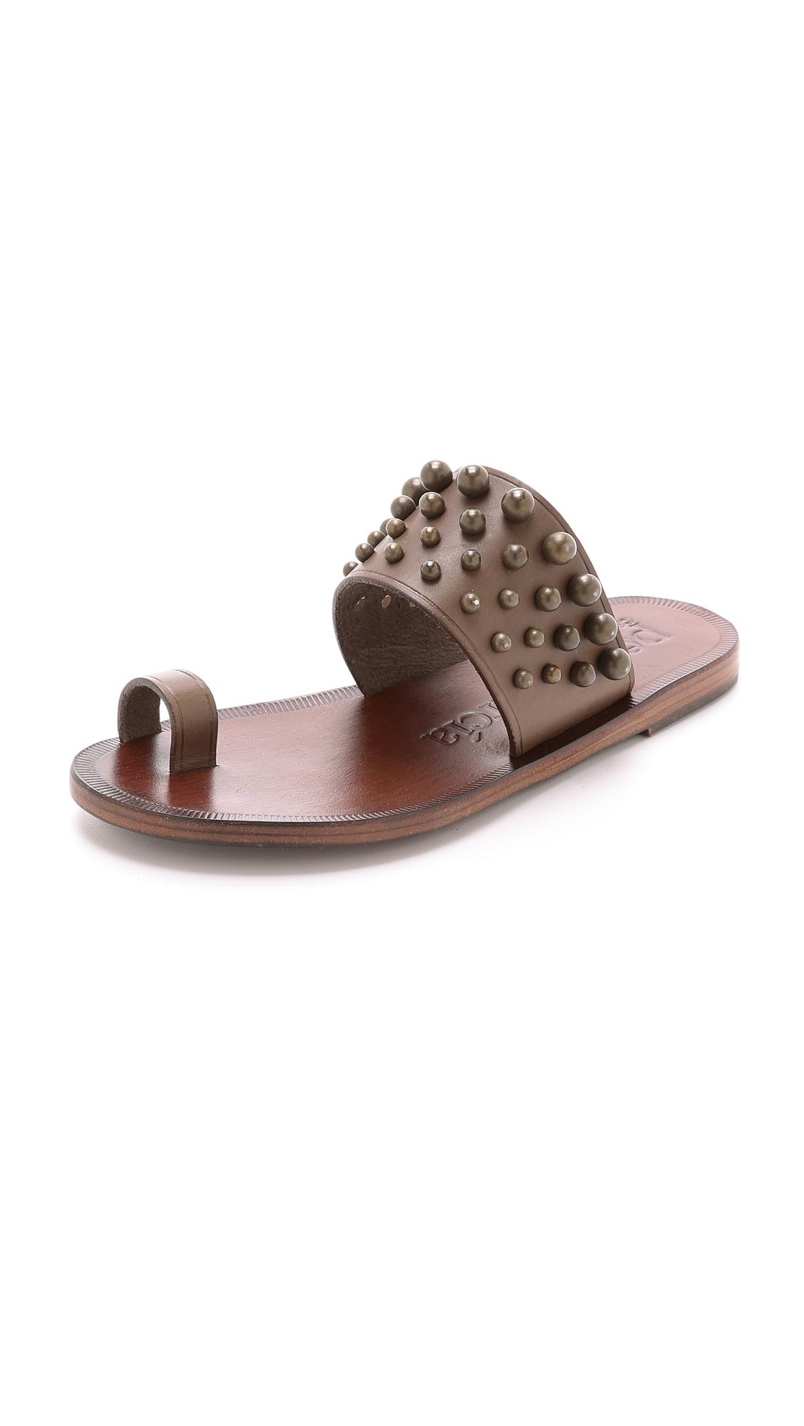 Lyst Pedro Garcia Zeta Studded Toe Ring Sandals Piombo