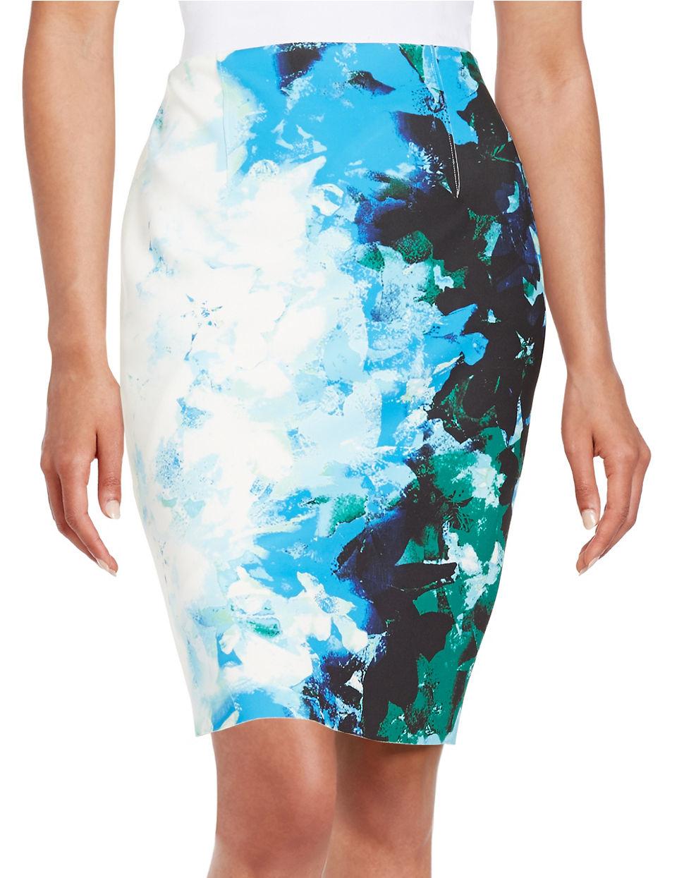 t tahari floral pencil skirt in blue lyst