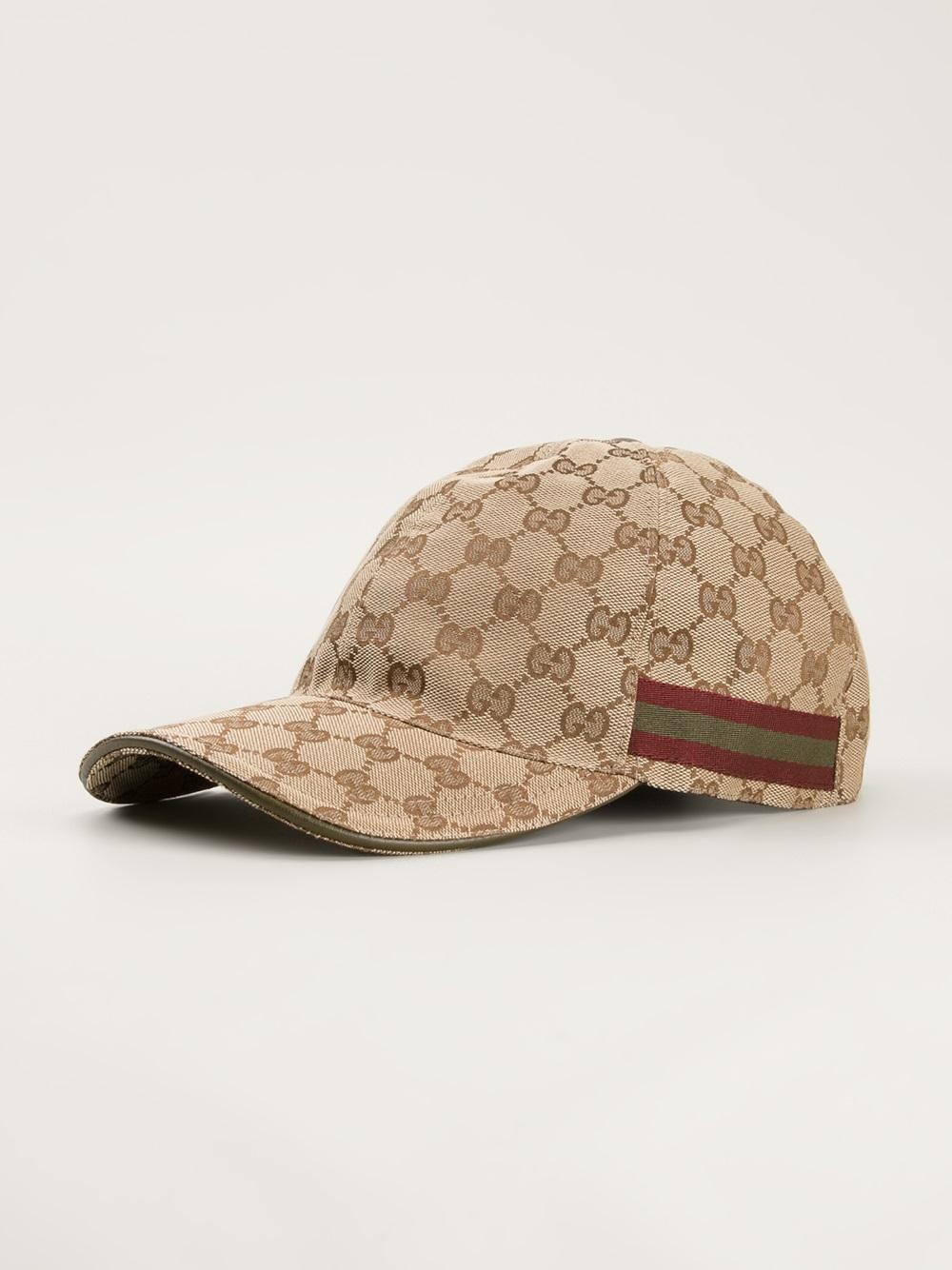 514ba4bf7f94c5 Lyst - Gucci Strap Back Baseball Cap in Natural for Men