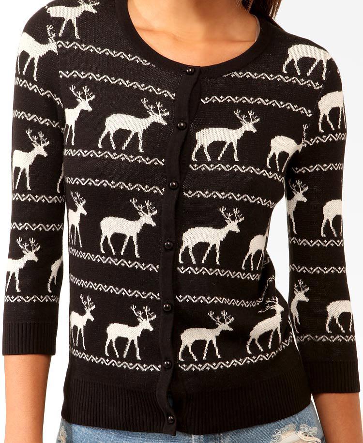 Forever 21 Reindeer 34 Sleeve Cardigan in Natural | Lyst