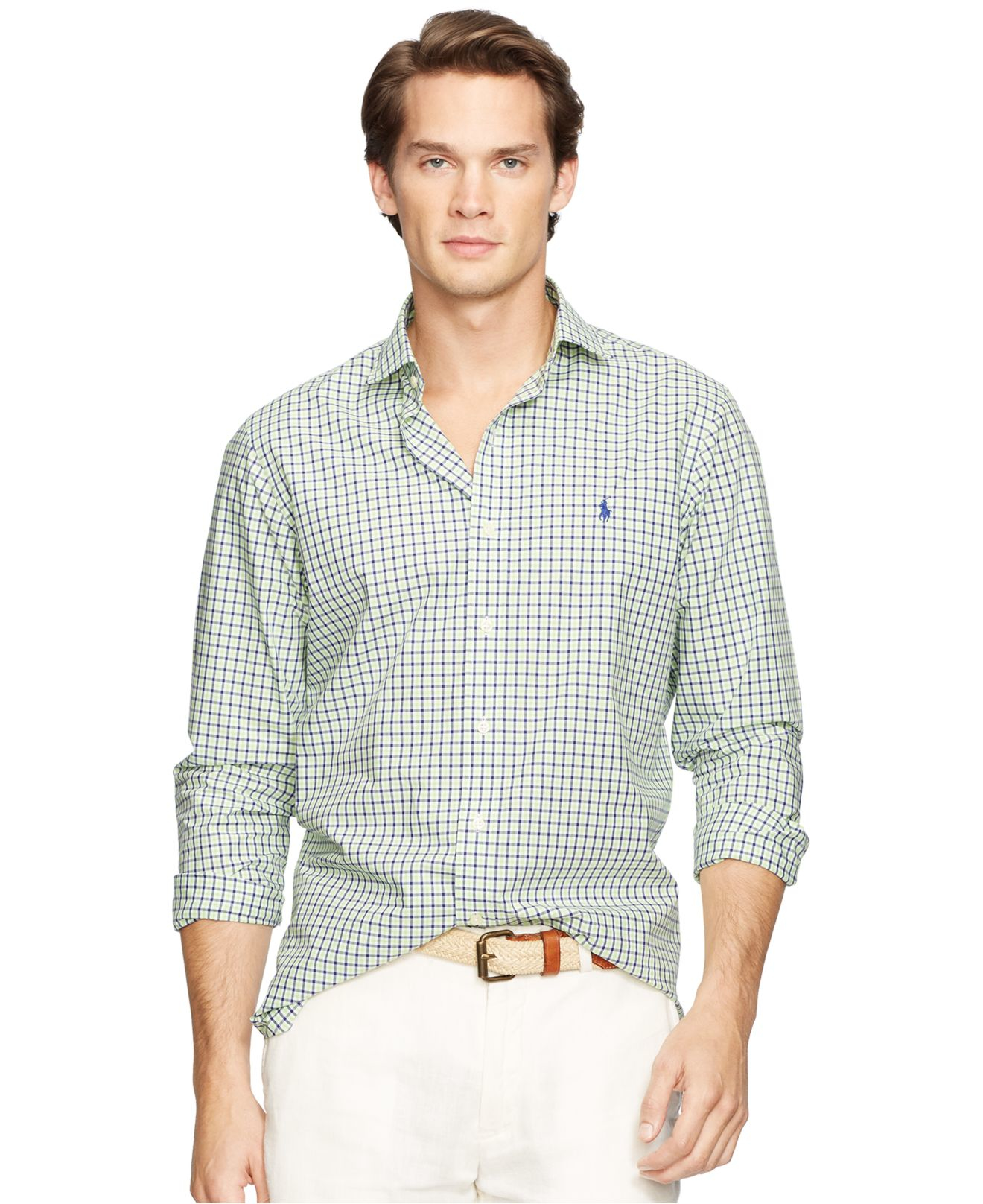 0f0f78e1743 ... new zealand lyst polo ralph lauren mens poplin linen estate shirt in  green 86e64 15bc3