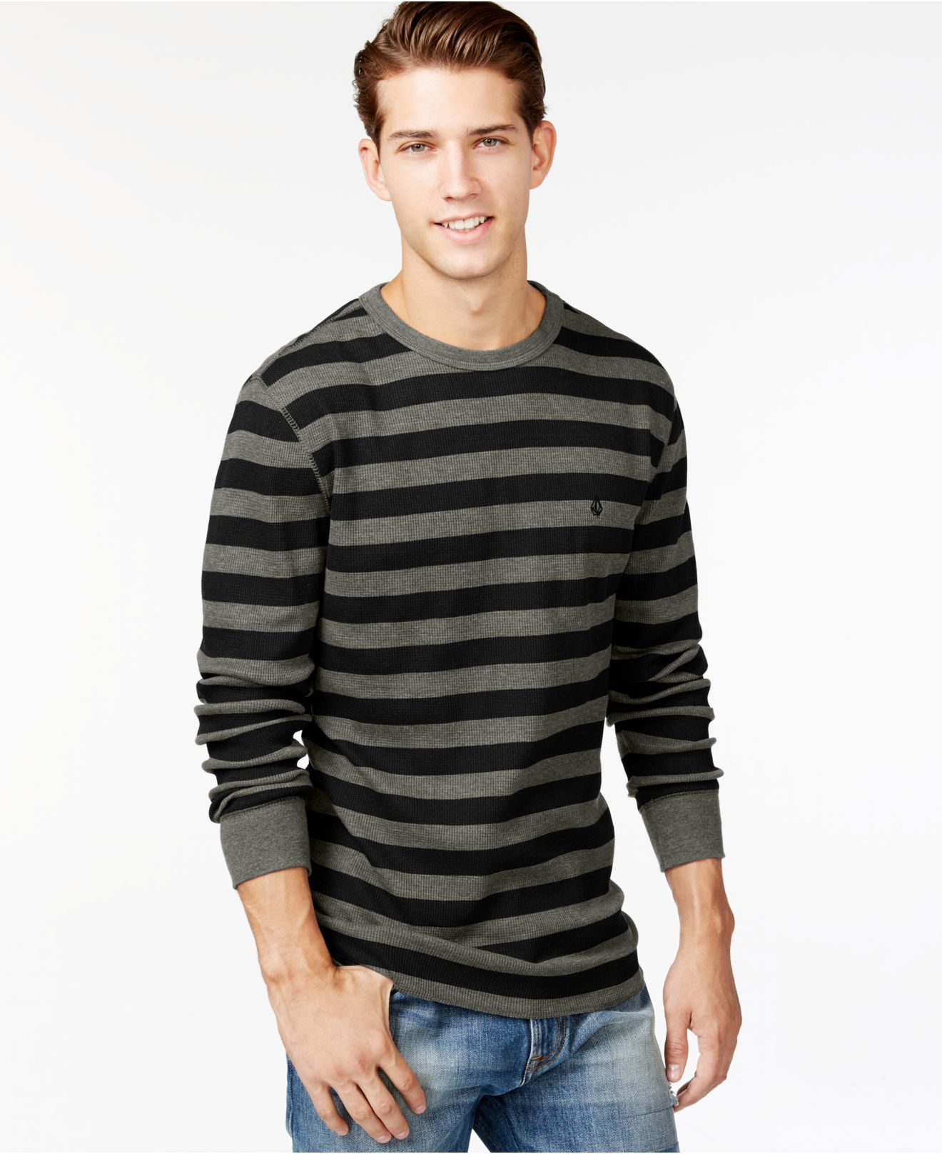 Volcom Royceeo Stripe Thermal Long Sleeve T Shirt In Gray
