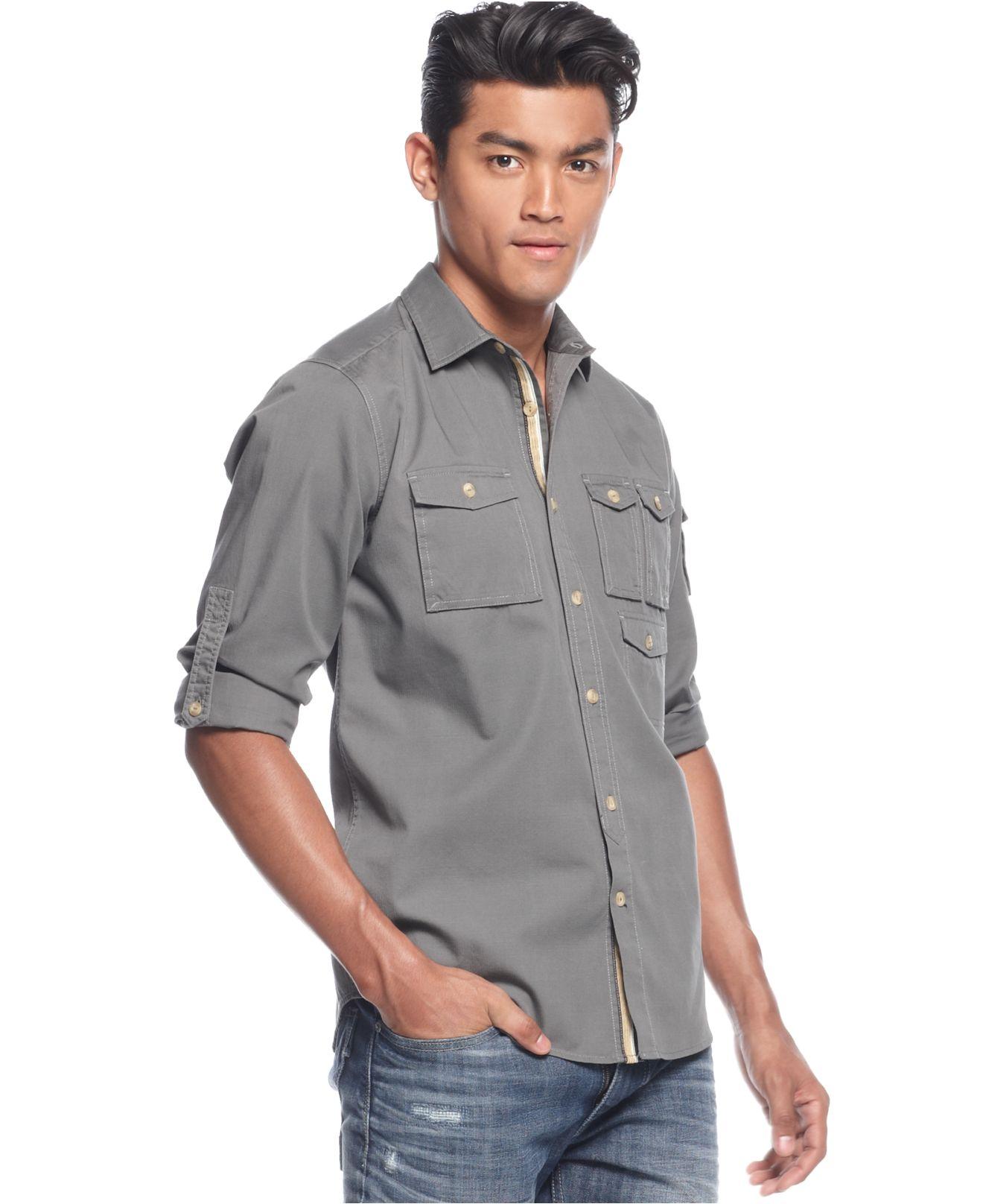 Sean john Long Sleeve Solid Utility Shirt in Gray for Men | Lyst