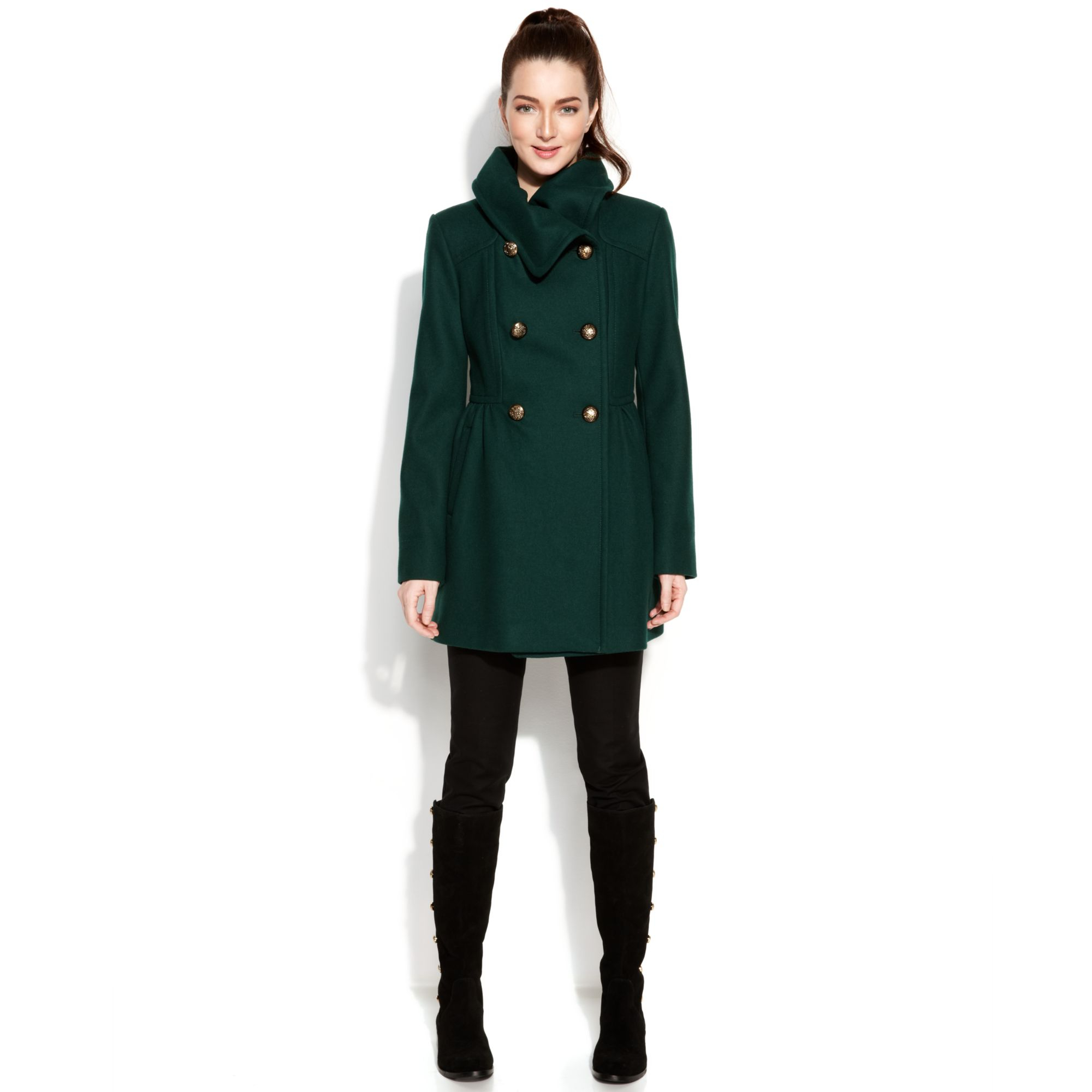 Kenneth cole Reaction Shawlcollar Doublebreasted Pea Coat in Green ...