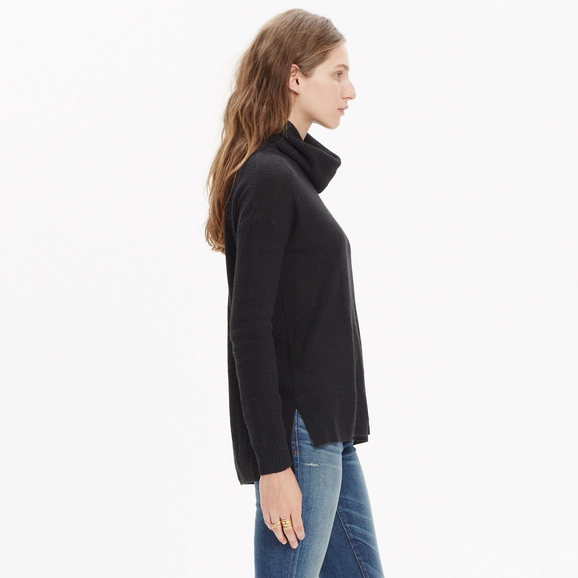 Madewell Ribbed Turtleneck Sweater in Black | Lyst