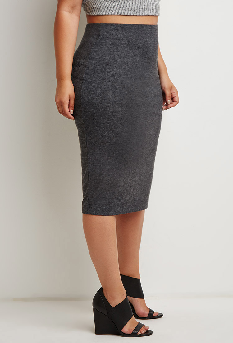 forever 21 plus size classic pencil skirt in gray