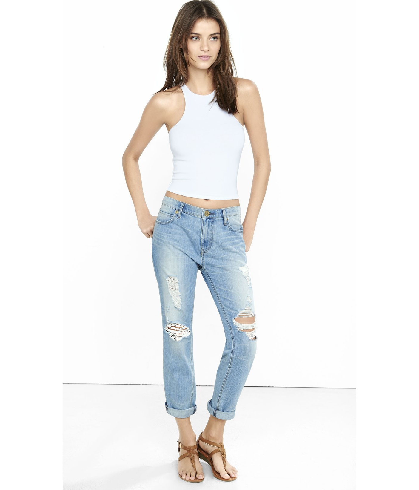 dcaec806ab Express One Eleven Cutaway Cropped Tank in White - Lyst