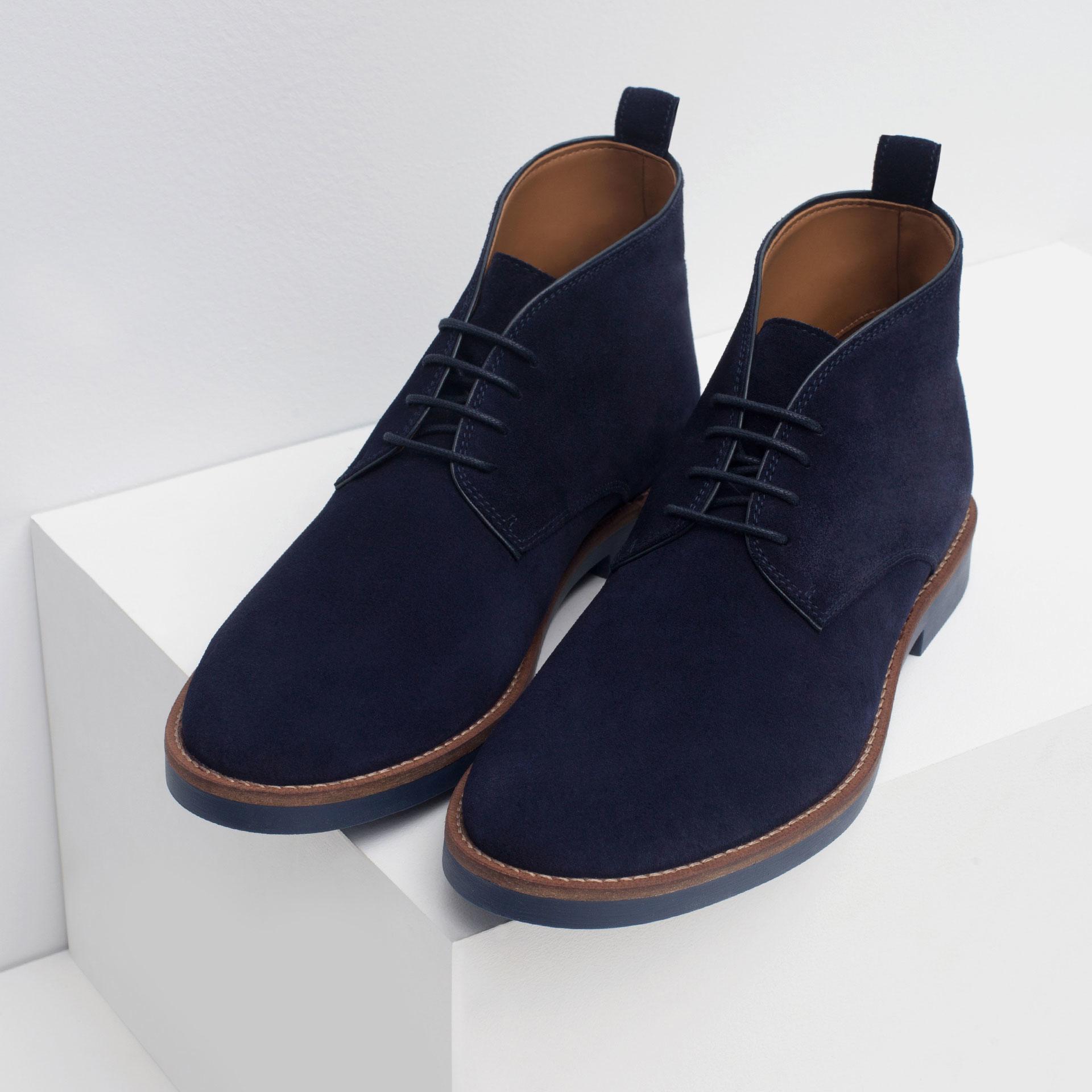Zara Leather Desert Boots in Blue for Men | Lyst