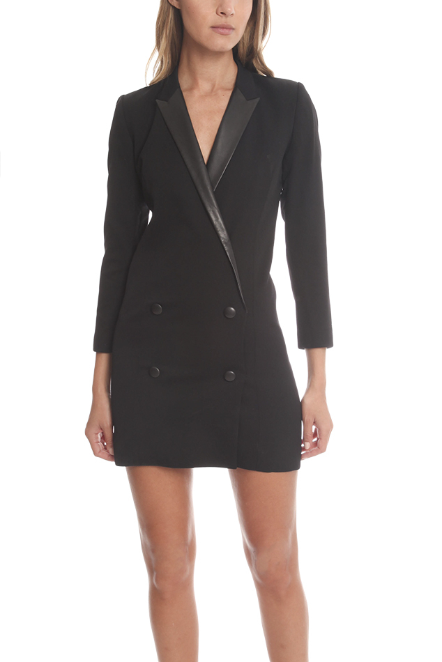 Lyst The Kooples Stretch Wool Smoking Dress In Black