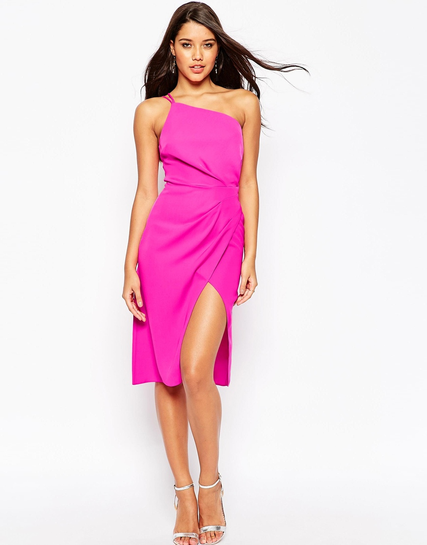Asos Cami Strap Drape Midi Pencil Dress in Pink - Lyst