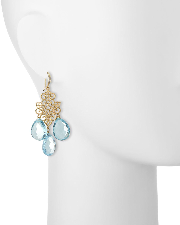 Indulgems Cubic Zirconia Starburst Earrings, Blue