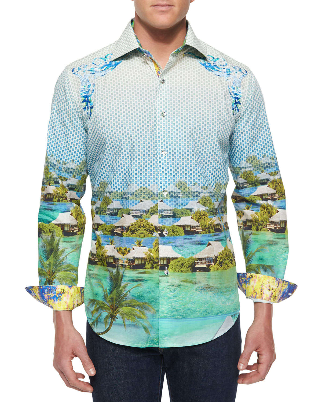 Lyst robert graham bentoo paradise printed sport shirt for Robert graham sport shirt