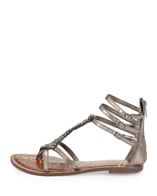 3d8f1996b299 Lyst - Sam Edelman Ginger Beaded Metallic Gladiator Sandal