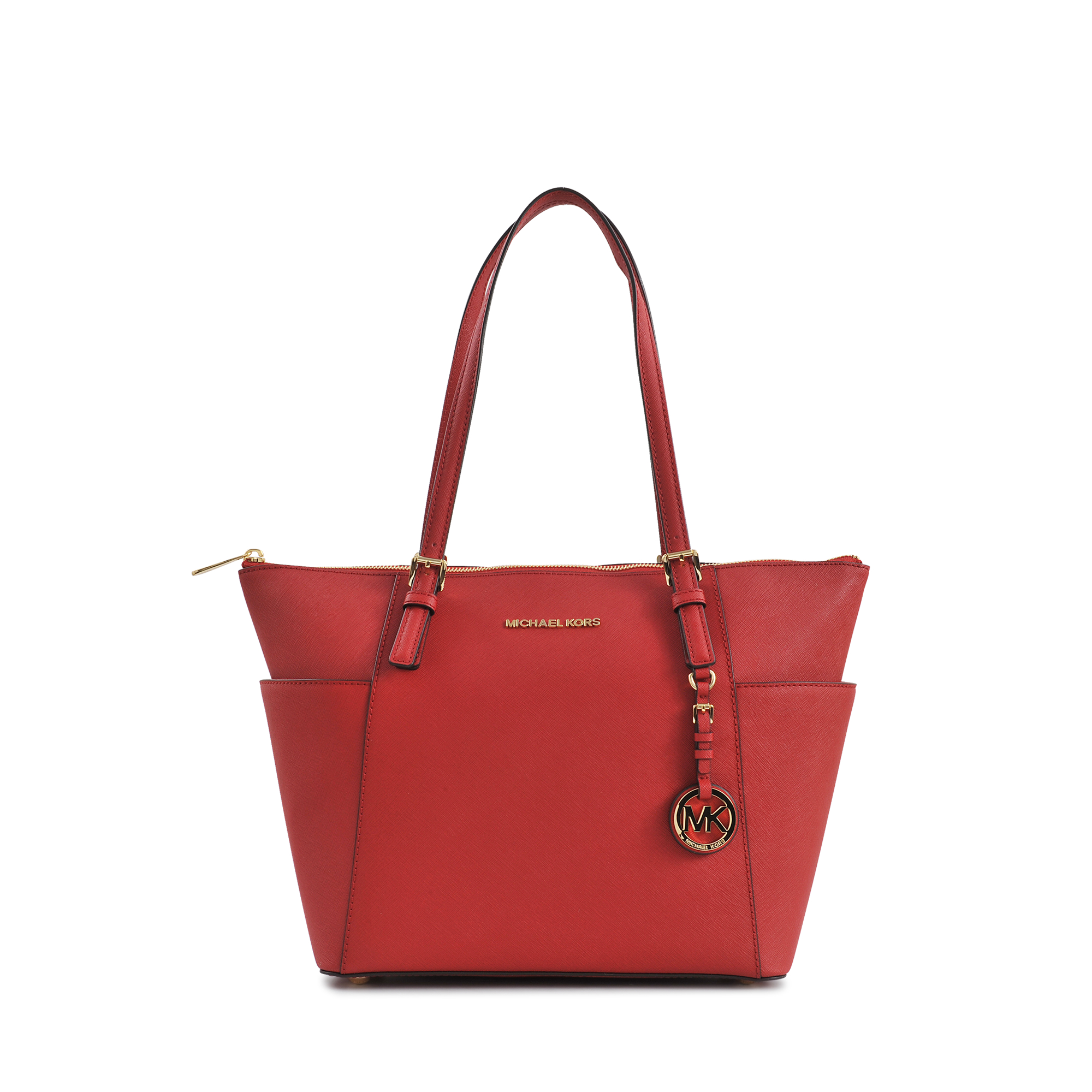 michael kors zipped jet set item ew tz tote in red lyst. Black Bedroom Furniture Sets. Home Design Ideas