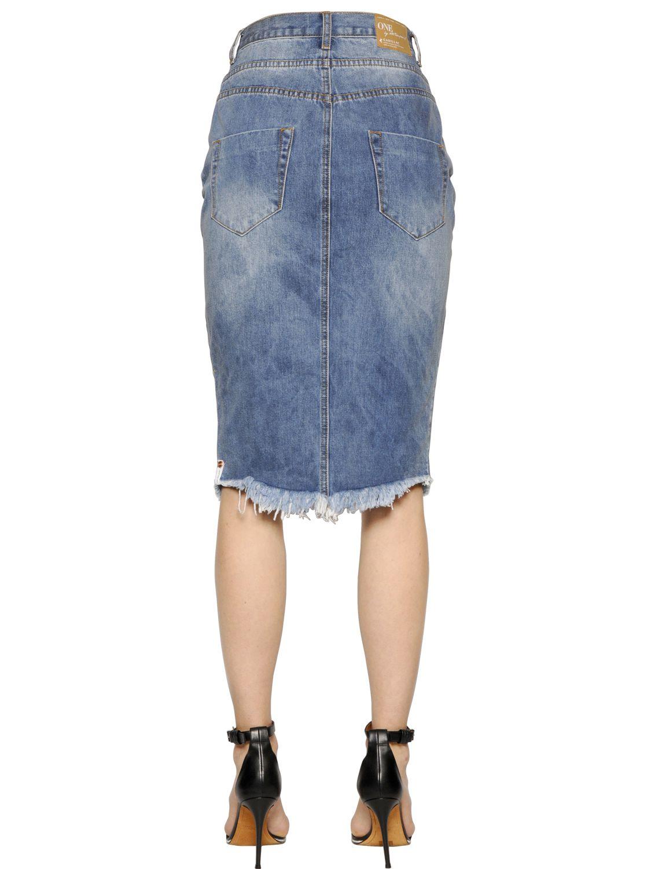 one teaspoon cadillac destroyed cotton denim skirt in blue