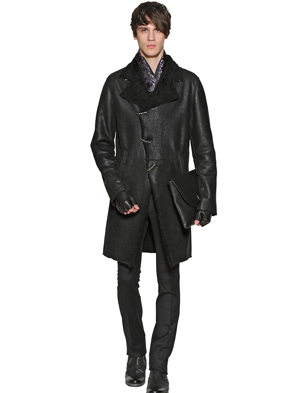 John varvatos Shearling Duffle Coat in Black for Men | Lyst