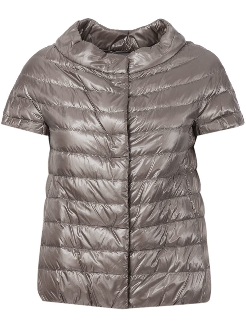 Herno Short Sleeve Padded Jacket In Gray Lyst