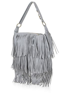 a32b56ce3254 Lyst - TOPSHOP Leather Tassel Hobo Bag in Gray