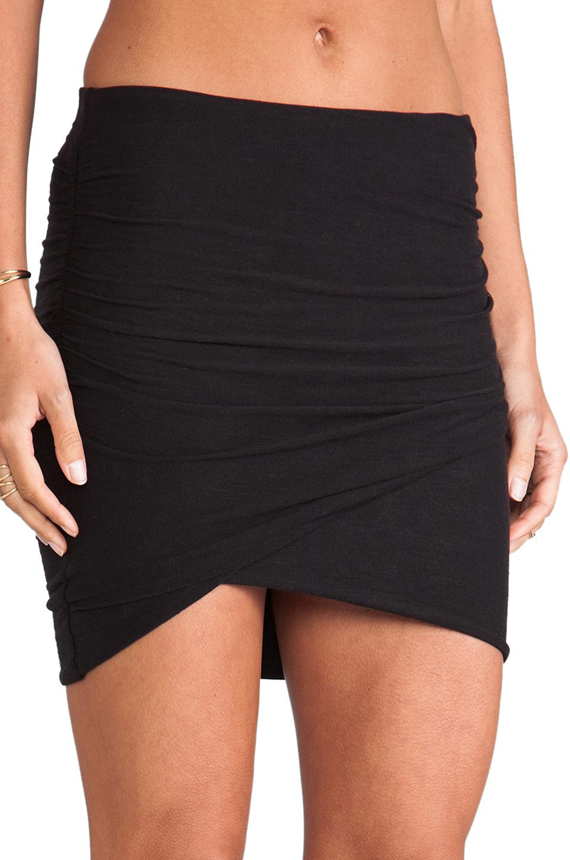 James perse Wrap Mini Skirt in Black | Lyst