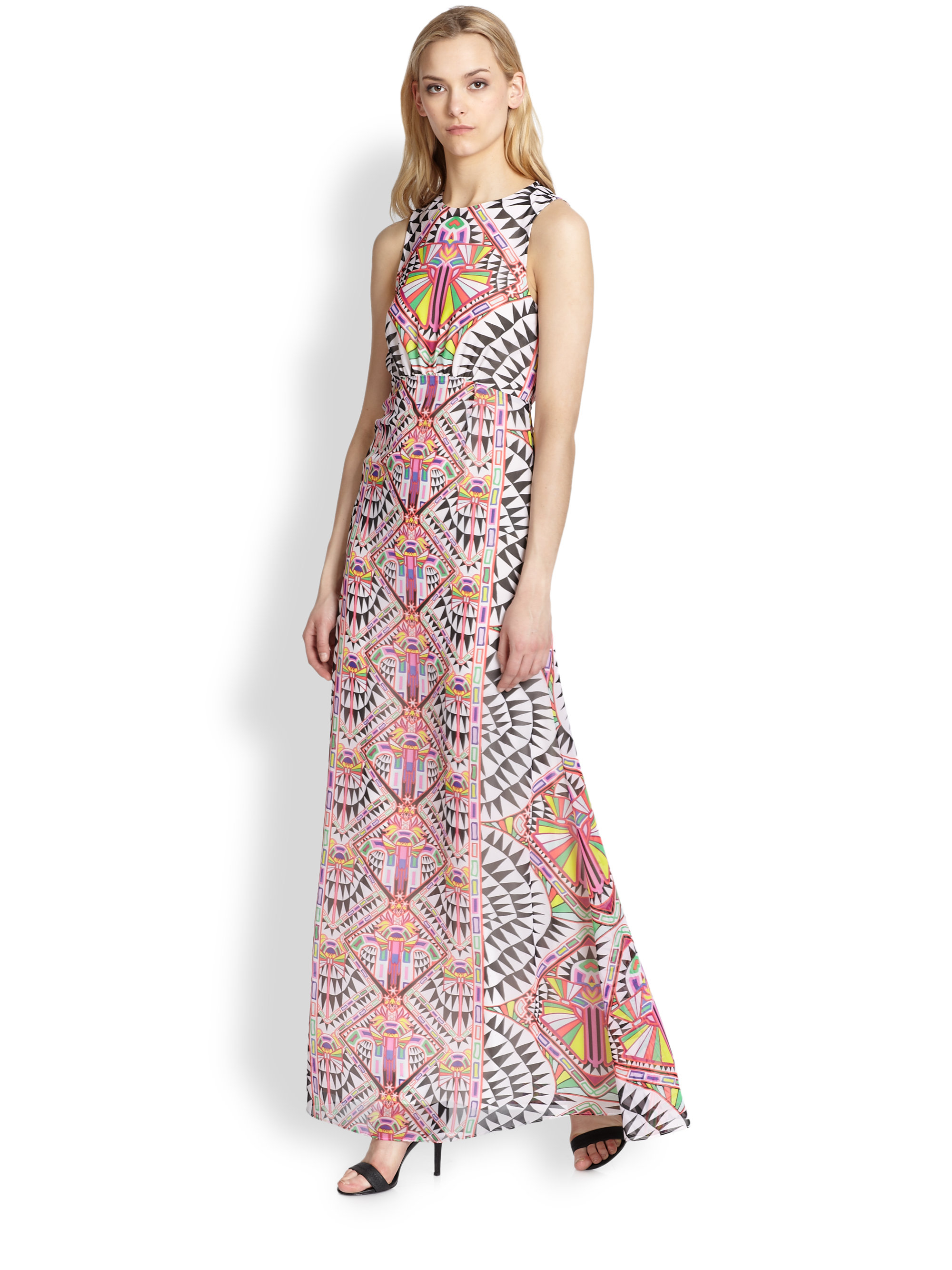 Mara hoffman Kaleidoscopeprint Chiffon Maxi Dress in Pink | Lyst