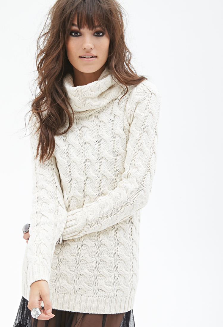 Forever 21 Cable Knit Turtleneck Sweater in Natural | Lyst