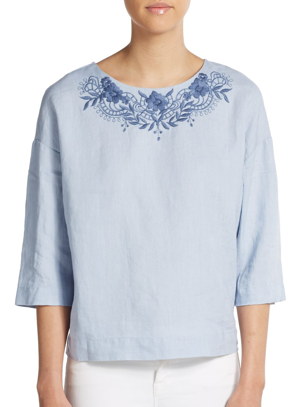 Ellen Tracy Embroidered Linen Top In Blue Lyst