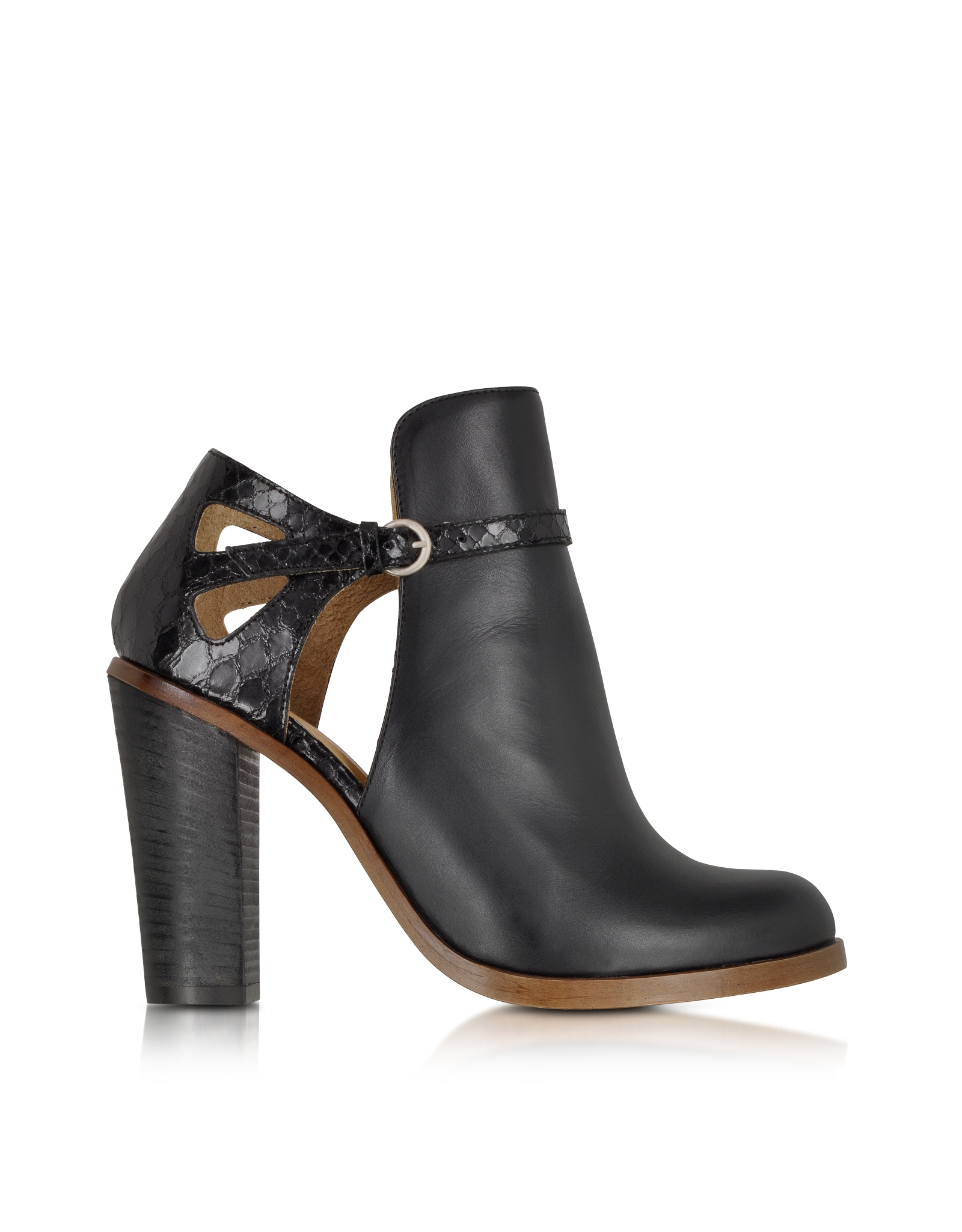Mm6 by maison martin margiela Black Cut-Out Leather Ankle Boot in ...
