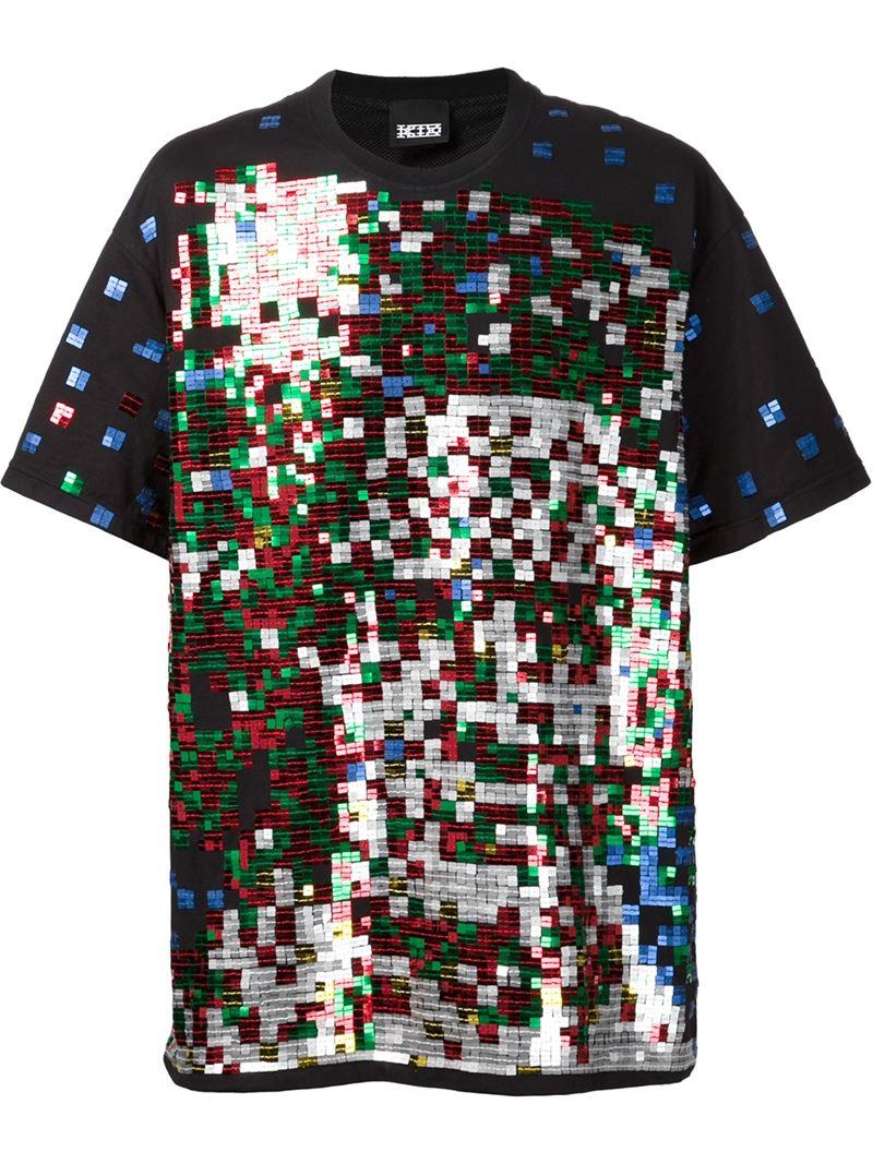 Ktz 39 beethoven 39 pixel sequin t shirt in black for men lyst for Sequin t shirt changing