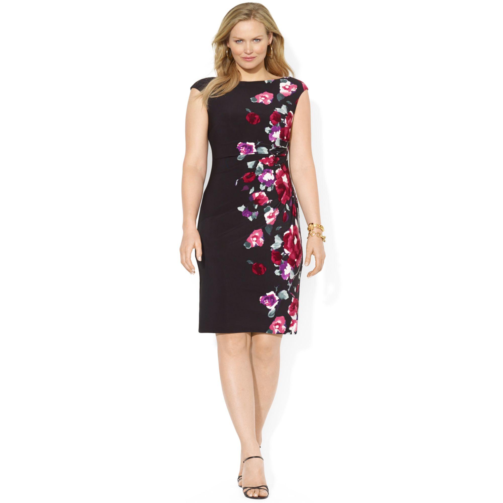 Lyst Lauren By Ralph Lauren Plus Size Capsleeve Floralprint Dress