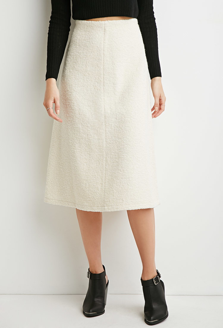 Forever 21 Contemporary A-line Midi Skirt in Natural | Lyst