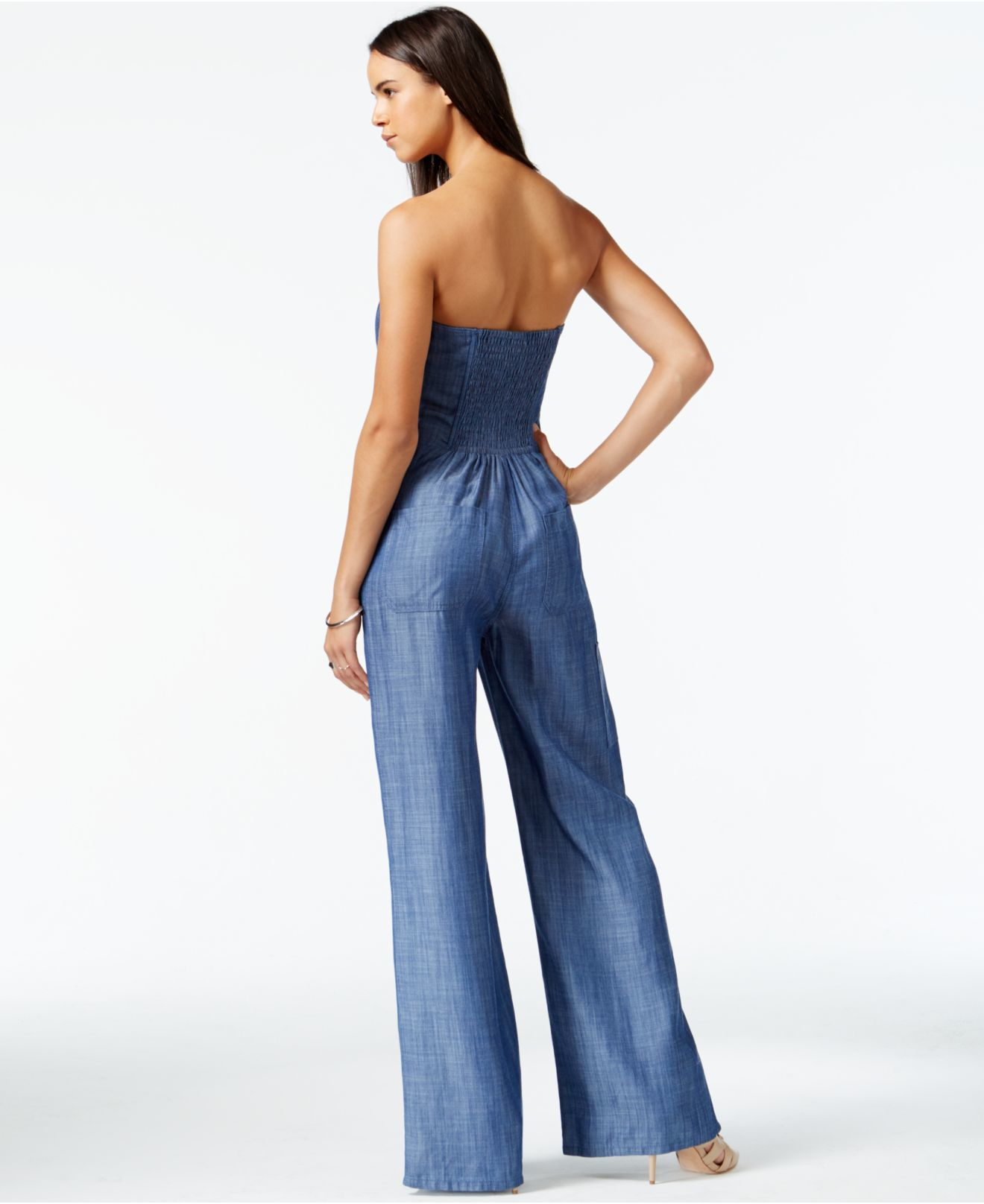 Rachel rachel roy Wide-leg Denim Jumpsuit in Blue | Lyst