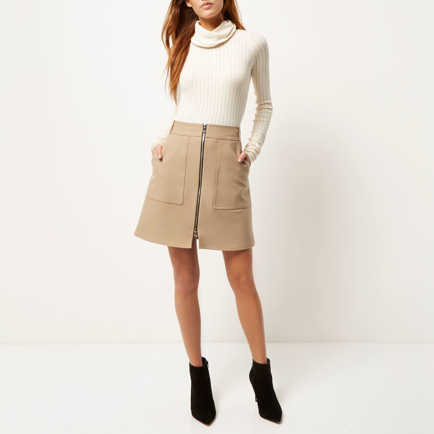 River island Camel Zip-up A-line Skirt in Natural | Lyst