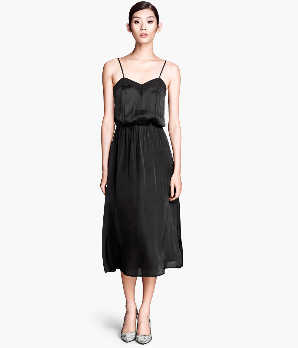 H&M Satin Dress In Black