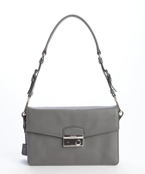 dark blue purse - prada grey leather clutch bag