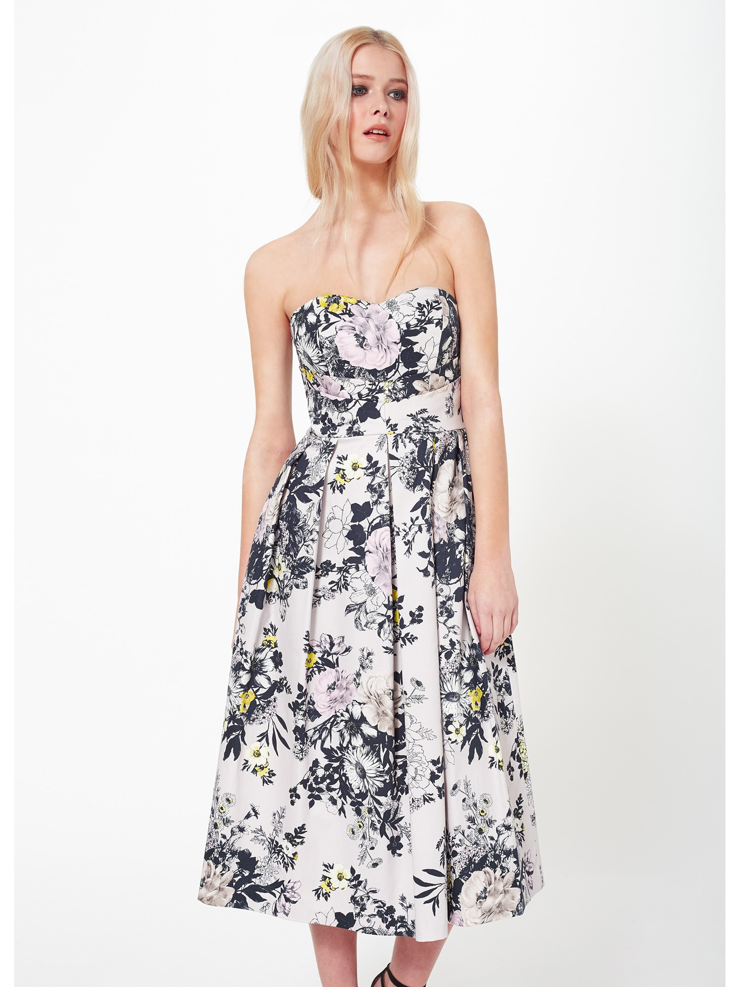 Miss Selfridge Floral Bandeau Prom Dress Lyst
