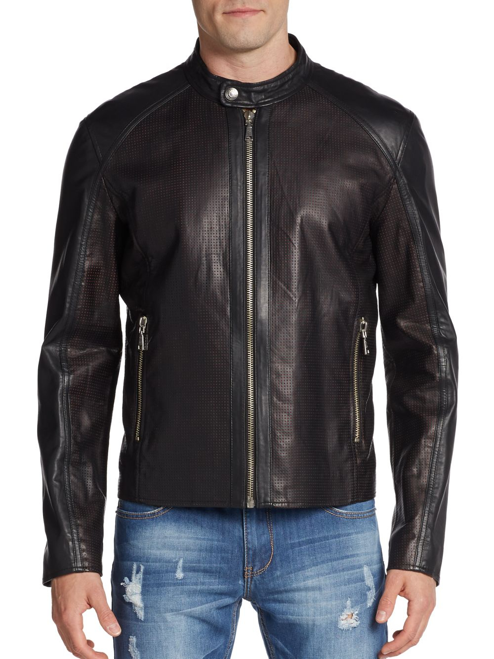 Versace jeans Perforated Leather Moto Jacket in Brown for Men | Lyst