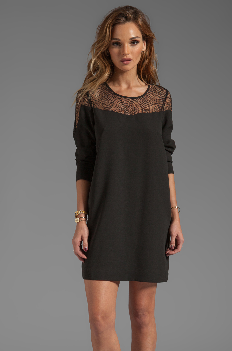 Apologise, but, Brunette black lace dress casually