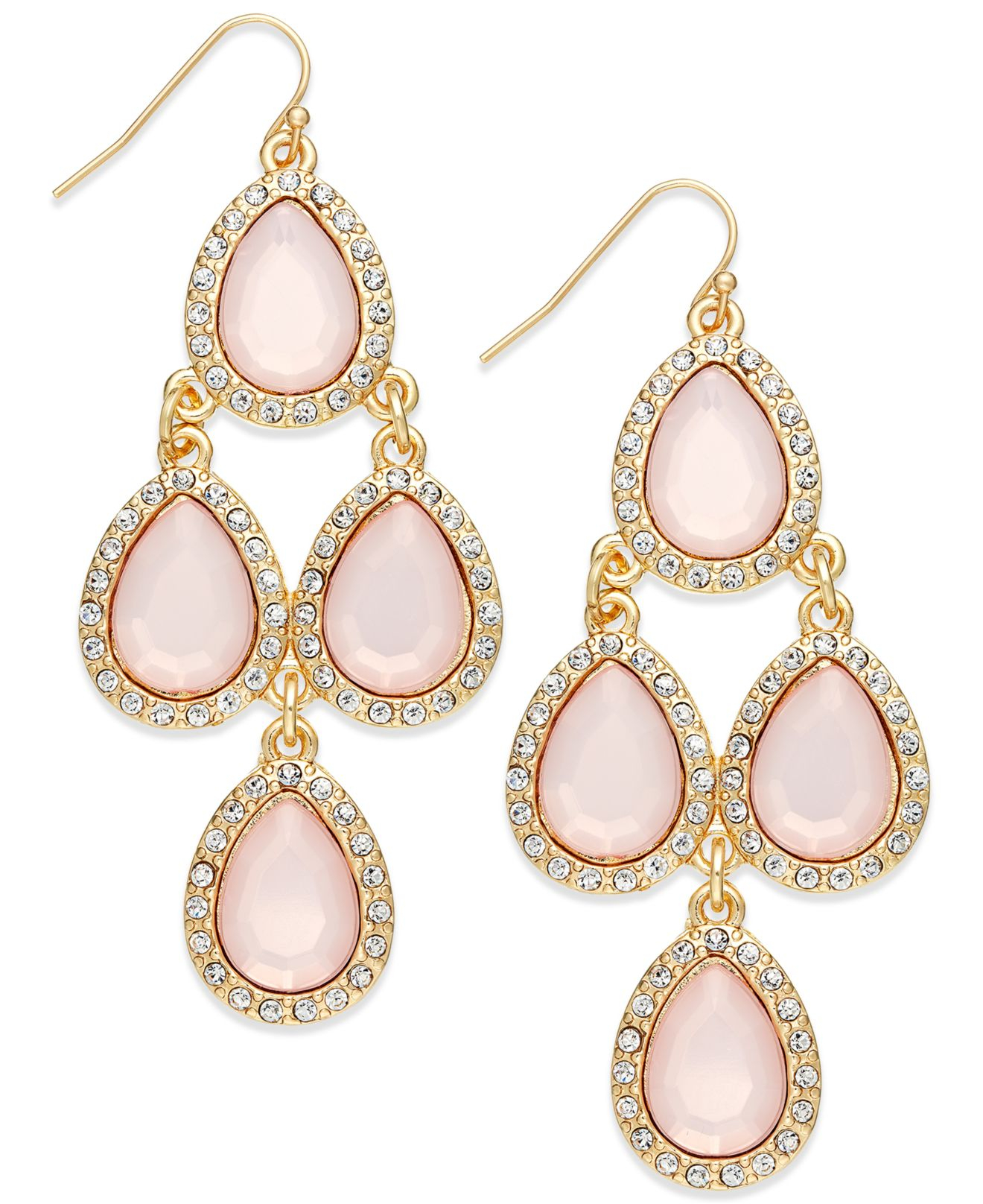 Lyst inc international concepts gold tone pink pav teardrop gallery aloadofball Image collections