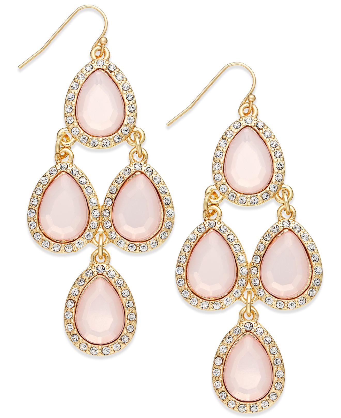 Inc international concepts Gold-tone Pink Pavé Teardrop Chandelier ...