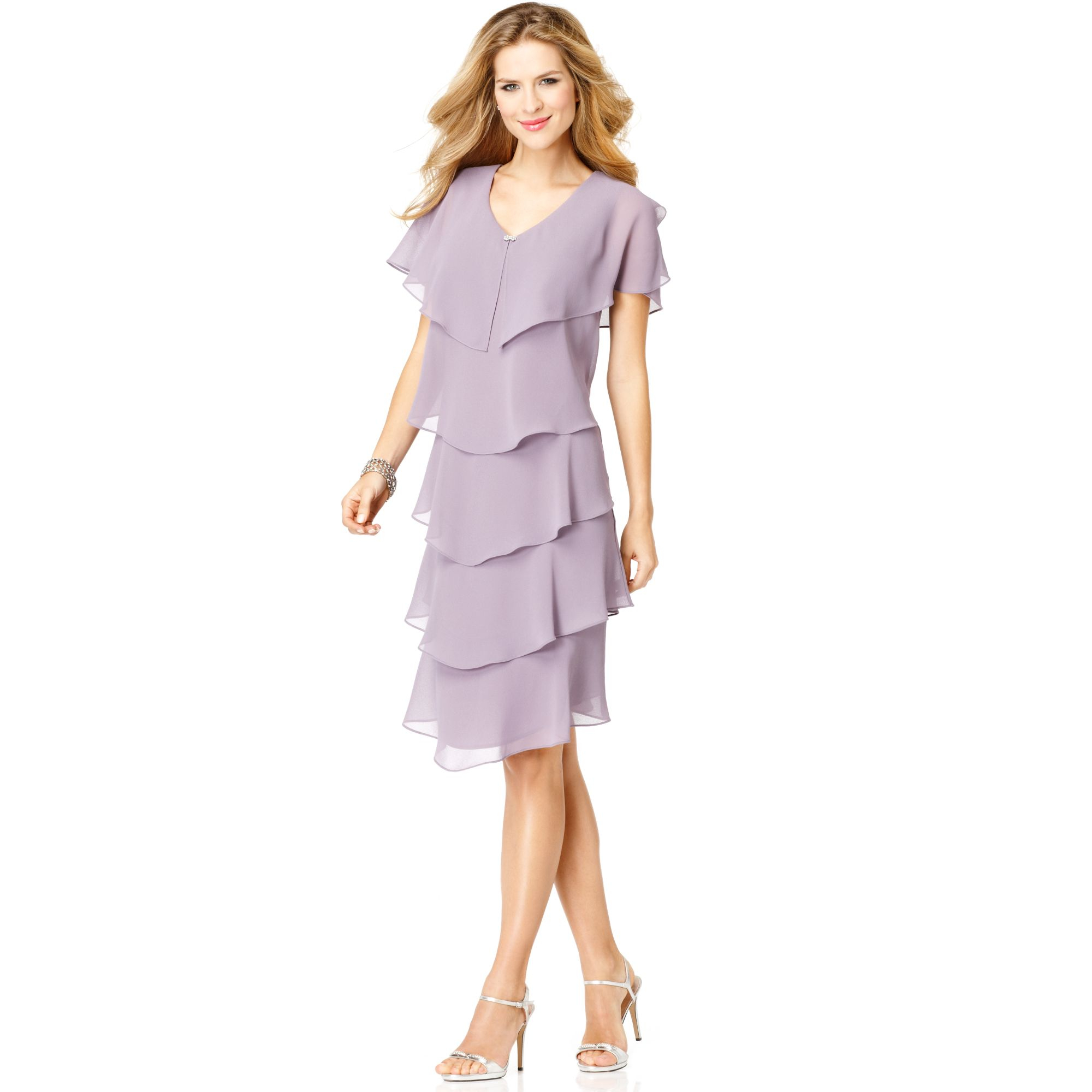 Patra Short Sleeve Tiered Dress in Purple | Lyst