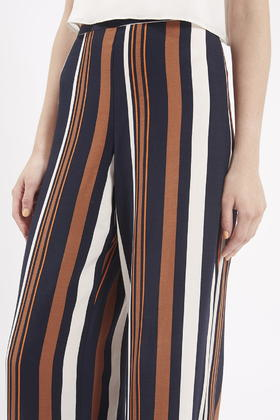 Topshop Tall Stripe Wide Leg Pants in Blue | Lyst