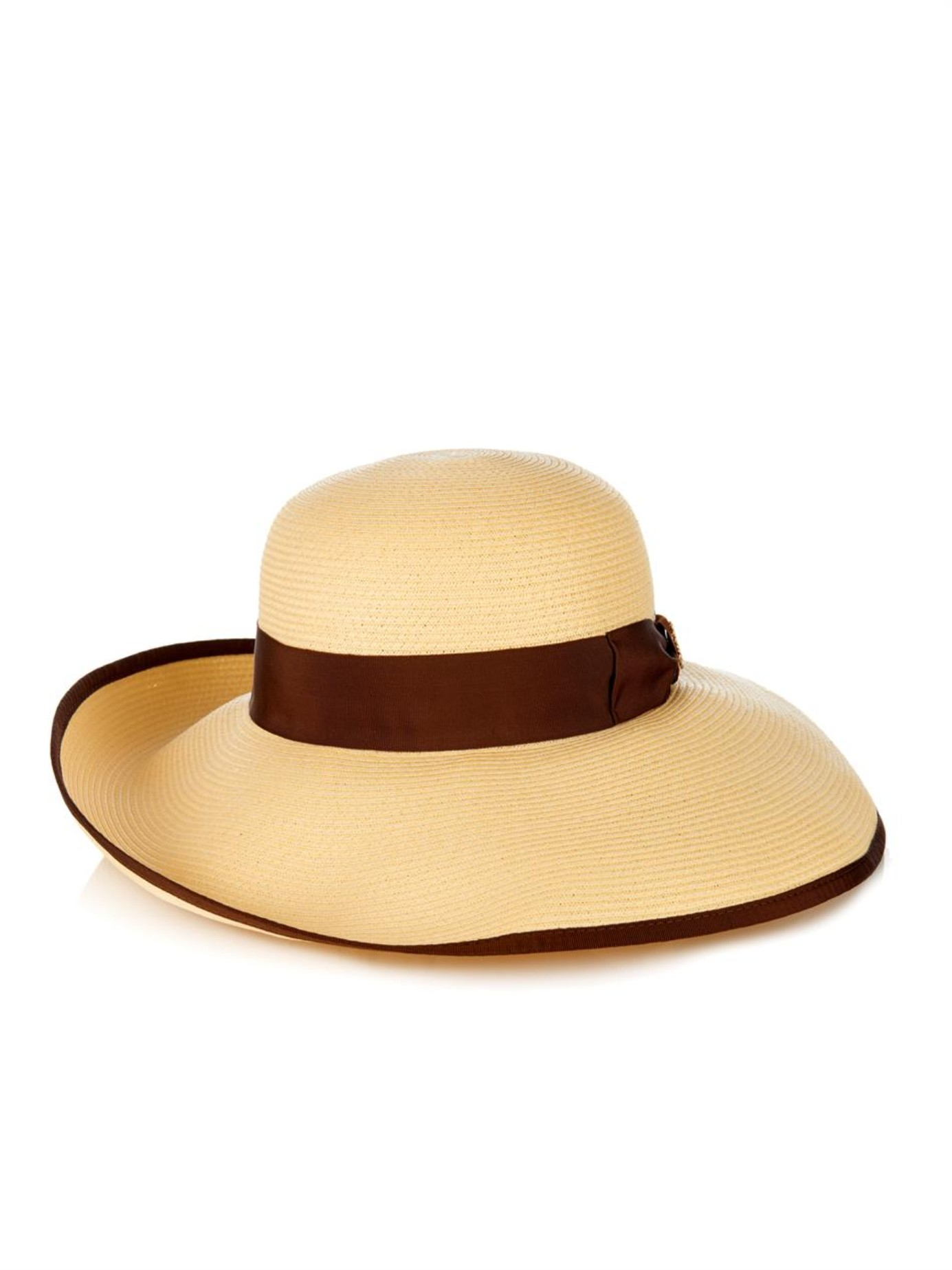 83ea6a6eb4d Lyst - Gucci Natural Straw Wide-Brimmed Hat