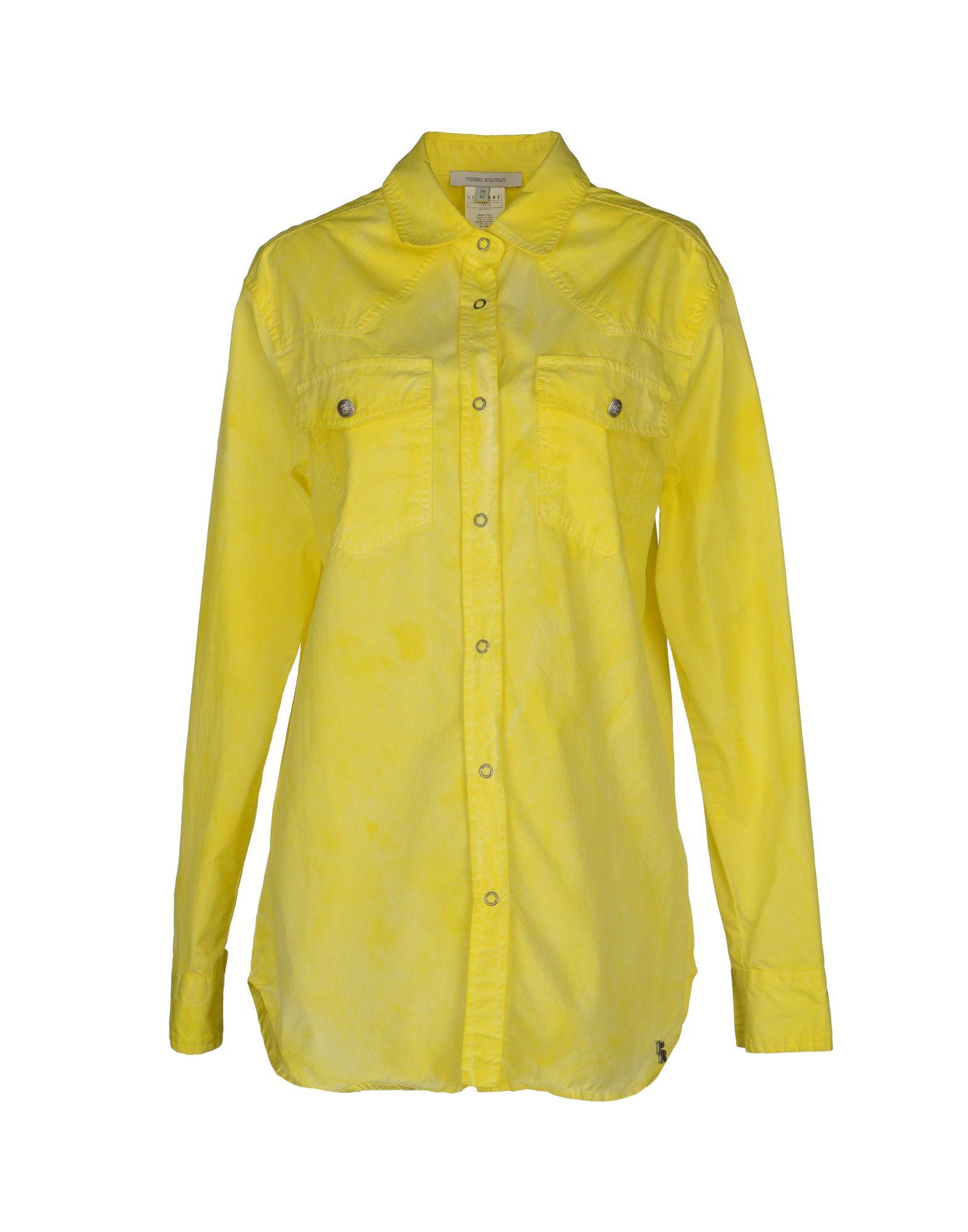 Pierre Balmain Long Sleeve Shirt In Yellow Lyst
