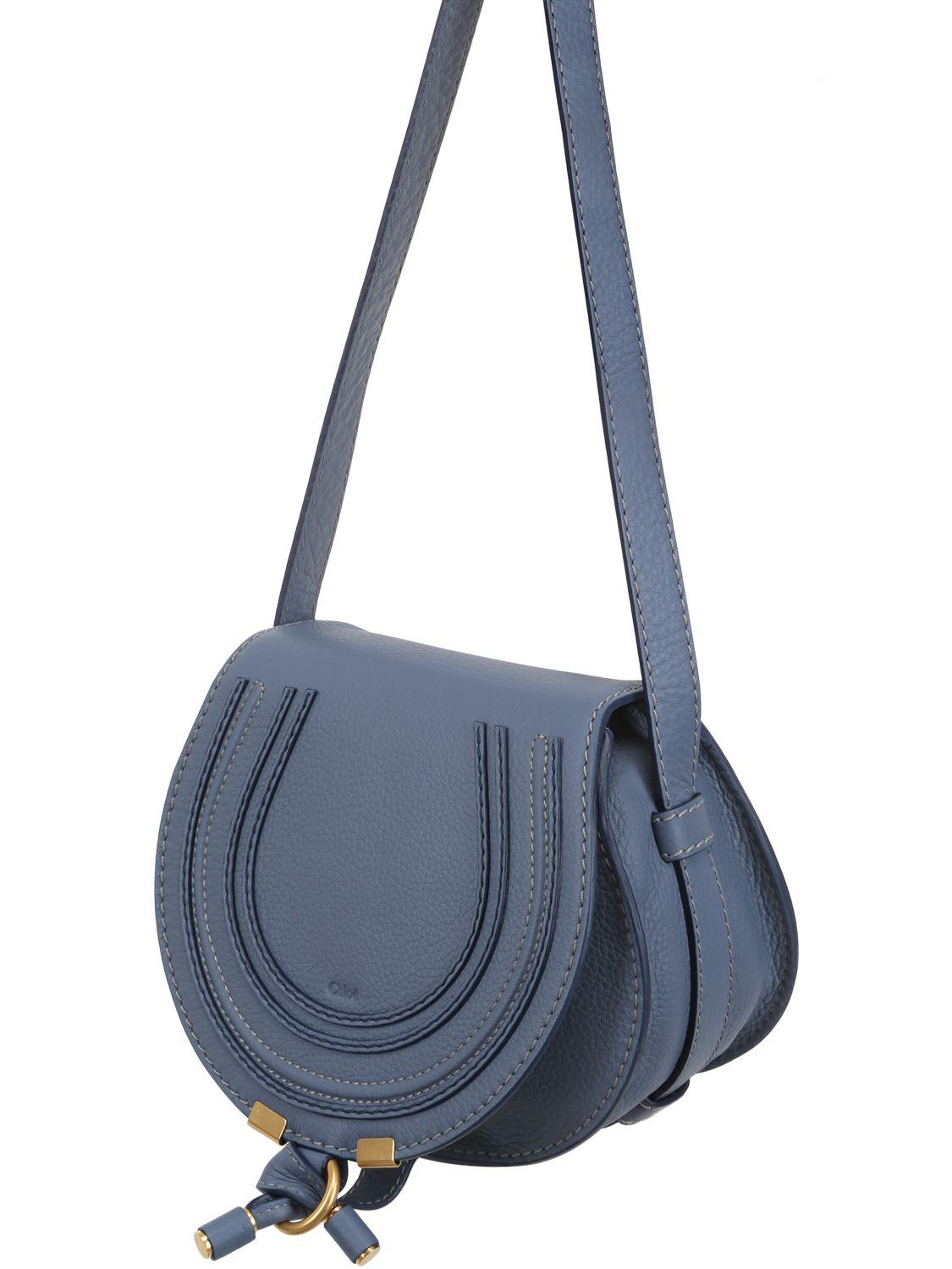 Chlo¨¦ Small Marcie Leather Cross Body Bag in Blue (STREET BLUE)   Lyst