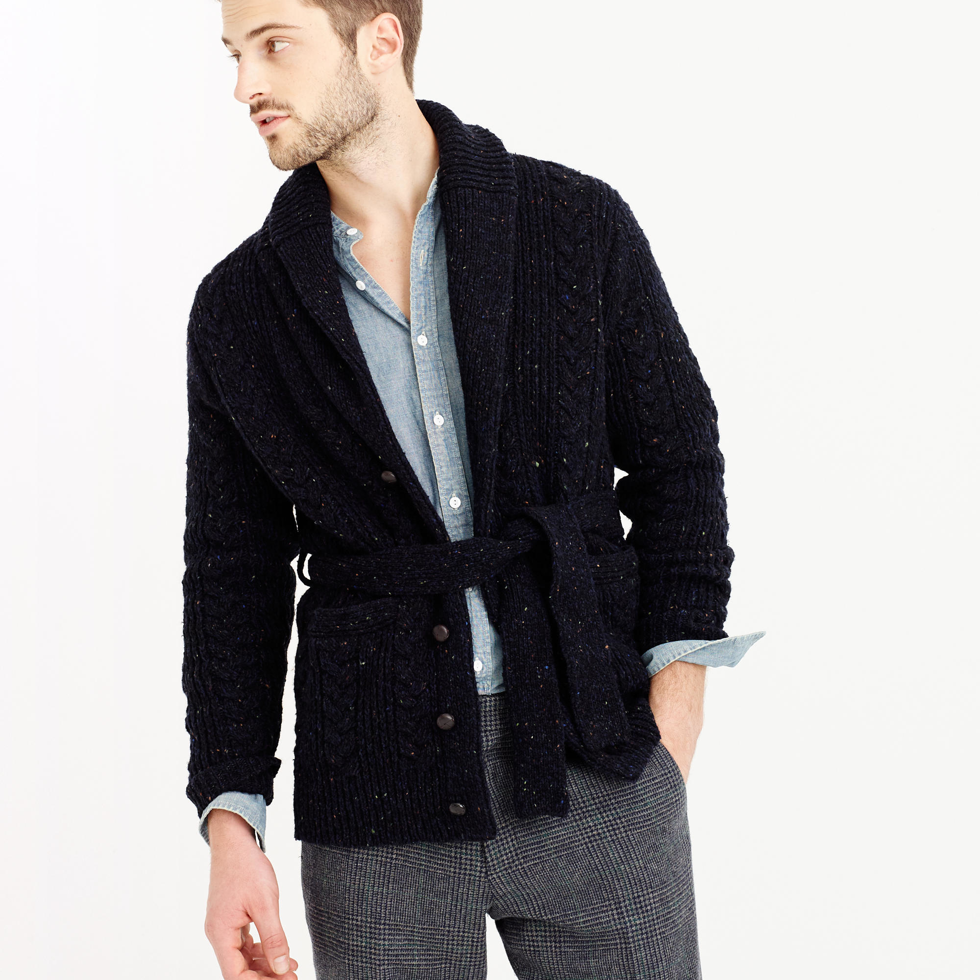 Shawl Collared Belted Cardigan - Reviews. Our Shawl Collar Belted Cardigan is an easy to wear and casual style with a sophisticated edge. Comfortable and cosy due to its wrap around fashion, it can be fastened to the wearers own figure and shape.5/5.