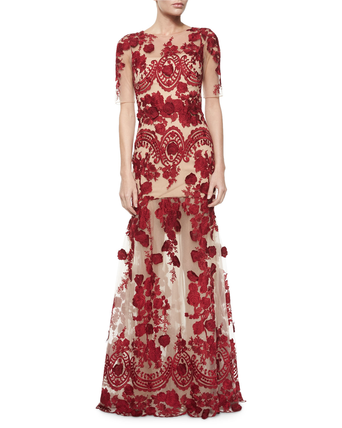 66db213c1d0 Marchesa notte Half-sleeve Floral-applique Gown in Red - Lyst